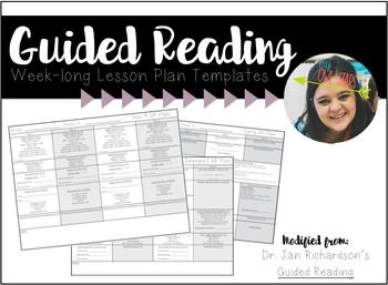 WeekLong Guided Reading Lesson Plan Templates Jan RichardsonS