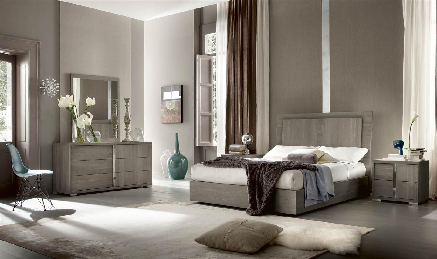 Oak Veneer Bedroom Furniture Tivoli Bedroom Collection Made In Italy Grey Oak Eco Veneer