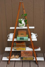 an old pair of wooden crutches . . . becomes a stylish, portable, freestanding shelving . . .