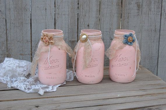 Shabby Chic Mason Jars Pink Lace Distressed by TheVintageArtistry, $33.00