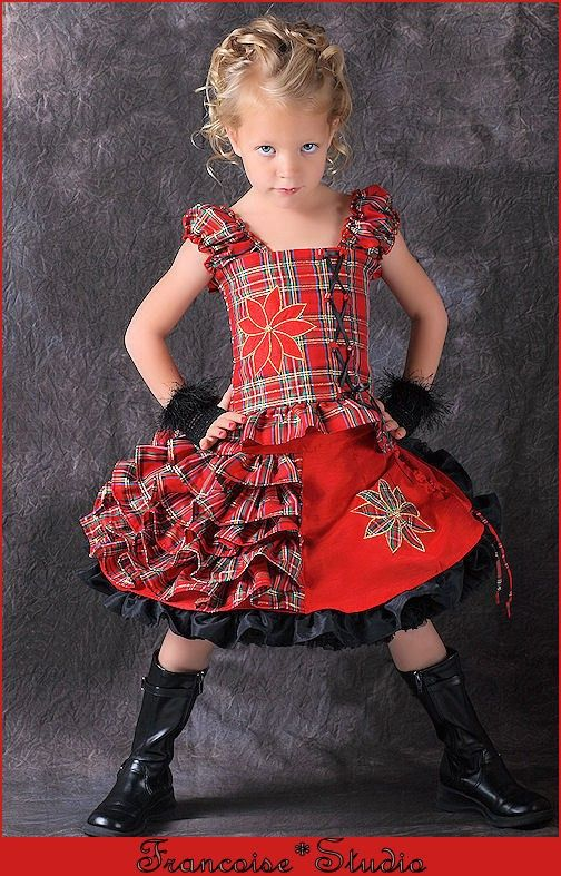 Girls holiday Christmas red black plaid pageant Twirl skirt corset outfit  Size 2T to 12 yrs - Holiday Flower - Girls Holiday Christmas Red Black Plaid Pageant Twirl Skirt Corset