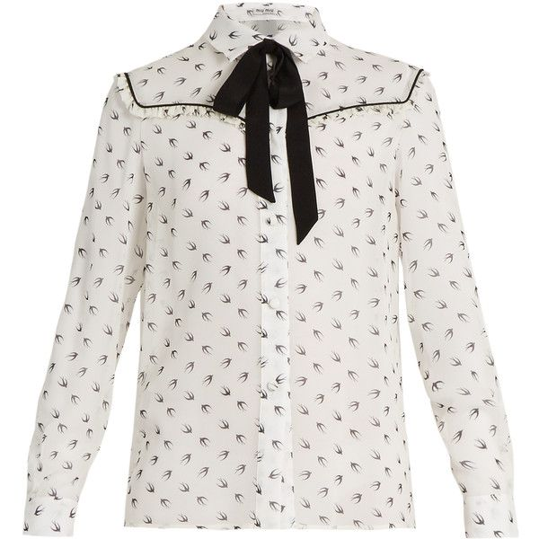 Miu Miu Swallow-print ruffle-trimmed silk blouse (12.031.480 IDR) ❤ liked on Polyvore featuring tops, blouses, white multi, white silk top, neck-tie, white blouse, neck tie blouse and white necktie blouse