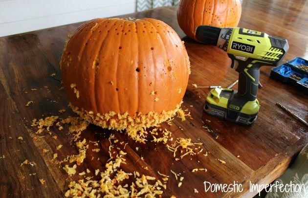 Carving Pumpkins With A Drill Pumpkin Carving Pumpkin Fall Halloween Decor