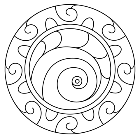 Mandala With Spiral Pattern Coloring Page From Abstract Mandalas Category Select From 2510 Pattern Coloring Pages Free Printable Coloring Pages Coloring Pages