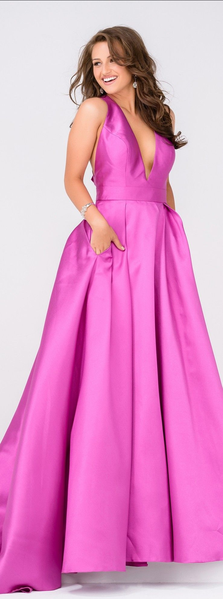 JVN by Jovani JVN47530 V-Neck Mikado Ball Gown with Bow