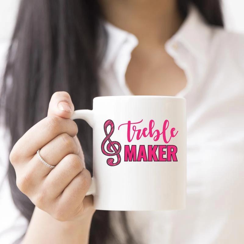 Treble Maker Funny Music White Coffee Mug White coffee
