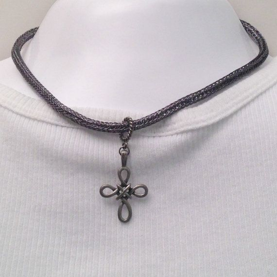 Celtic cross viking knit mens or ladies necklace by DonnaDStore