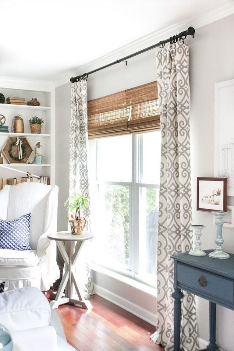 90+ Awesome Modern Farmhouse Curtains for Living Room ... on Farmhouse Curtain Ideas For Living Room  id=19664