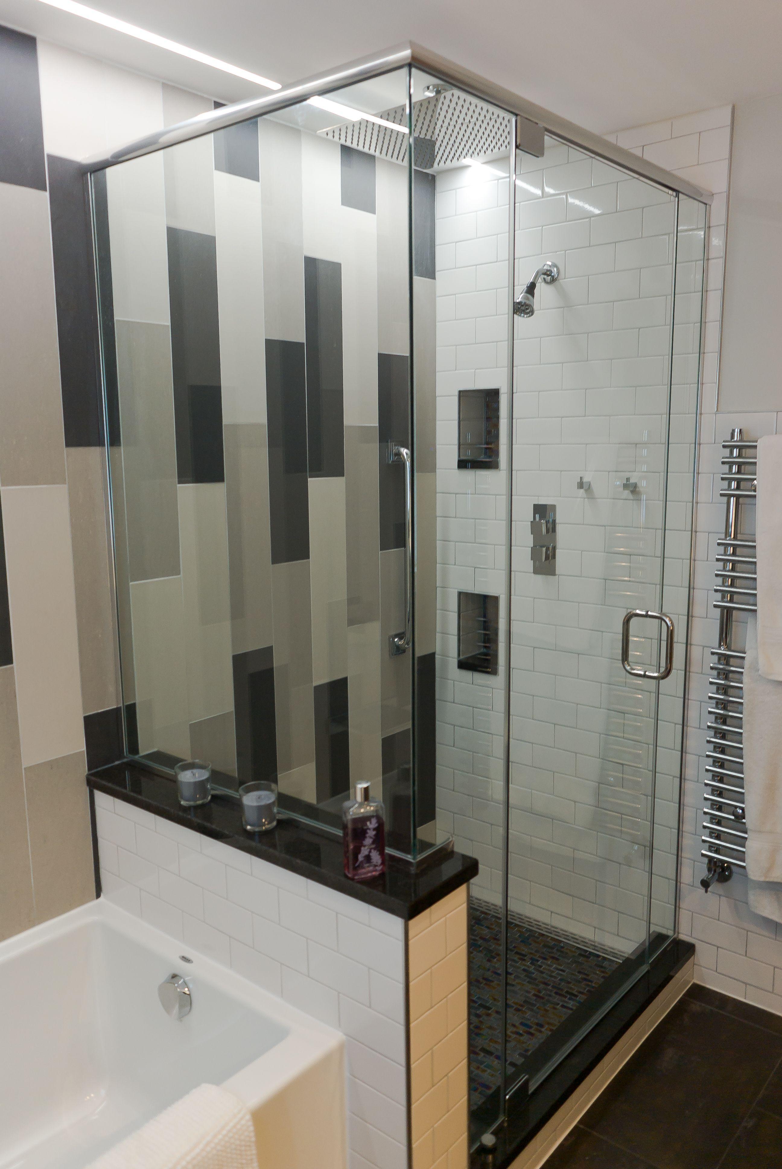 Modern Bathroom Design Recessed Led Accent Lighting Gray White Black Tile