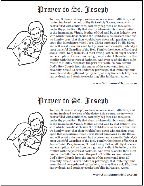 photograph about Printable Prayer to St. Joseph identified as Prayer Toward St Joseph ❤+❤ Printable Prayer Card and Coloring