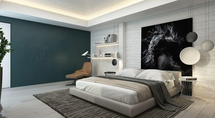 Wandgestaltung Schlafzimmer ~ Wandpaneele holz schlafzimmer wandgestaltung led leisten