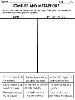 Similes and Metaphors:This product contains 4 worksheets that ask ...
