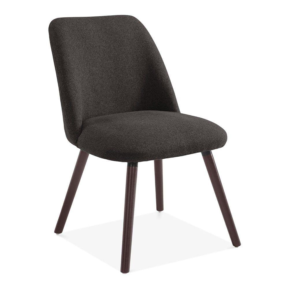 Hanover Sleek Scandinavian Dining Chair Fabric Upholstered Dark Grey Scandinavian Dining Chairs Dining Chairs Upholstery Fabric For Chairs
