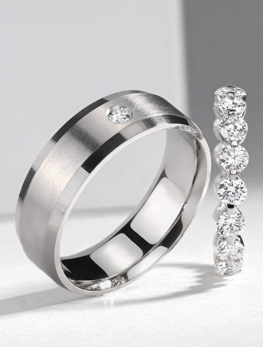 Single Diamond Wedding Ring In 14k White Gold 7mm Blue Nile In 2021 Mens Diamond Wedding Bands Diamond Wedding Rings Mens Wedding Rings