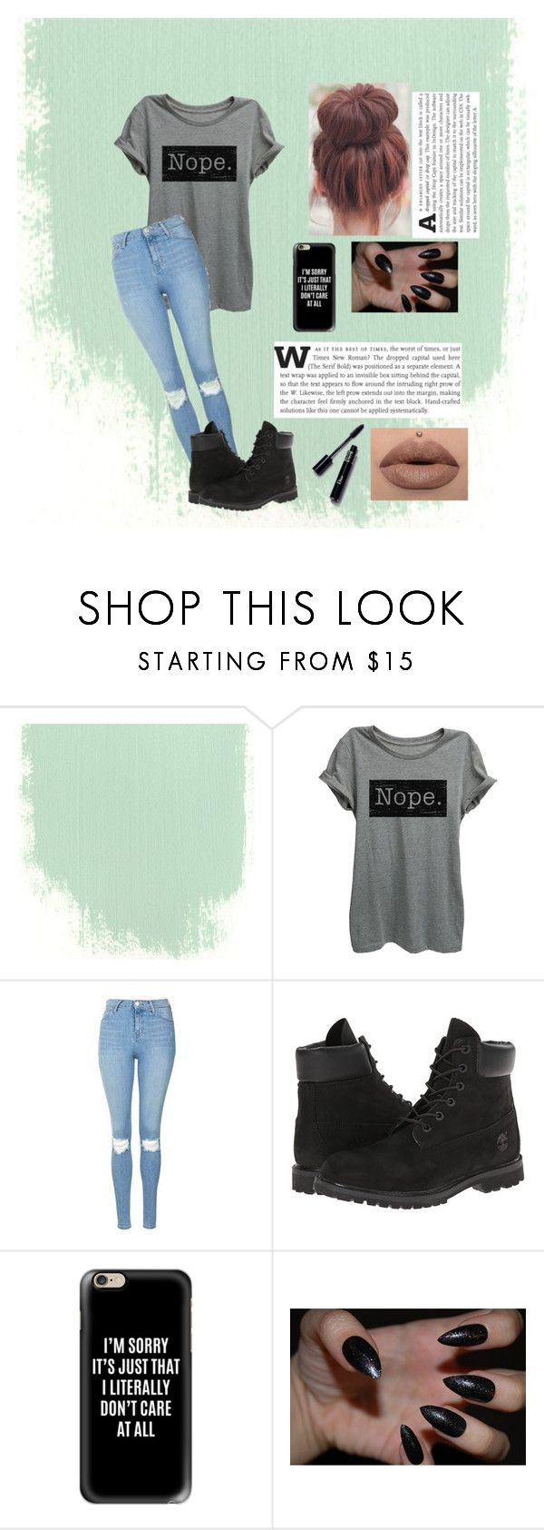 """""""Nope....I literally dont care"""" by pumpkinseed112 ❤ liked on Polyvore featuring Thread Tank, Topshop, Timberland and Casetify"""