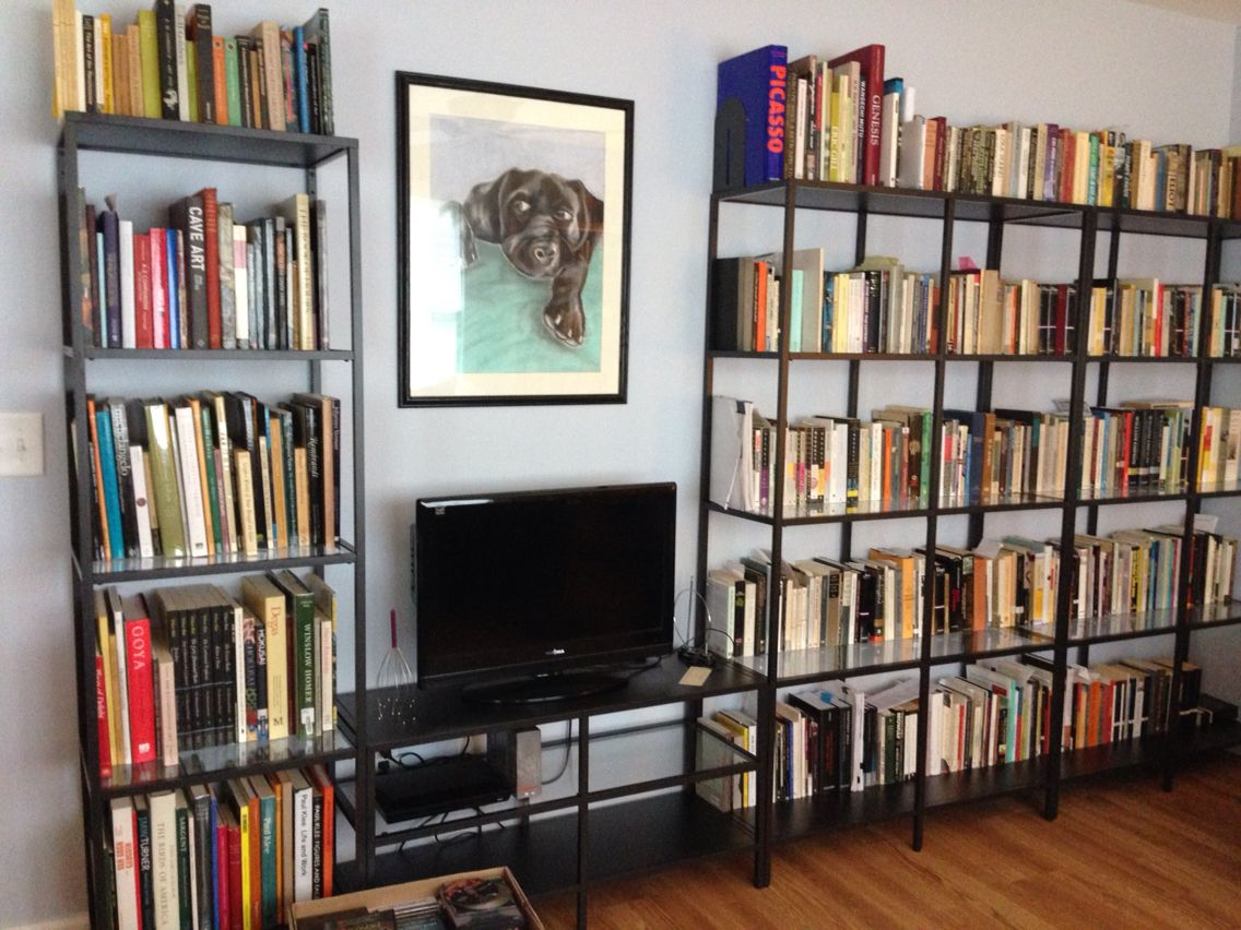 IKEA VITTSJO shelving unit for TV and books! Great way to have ...
