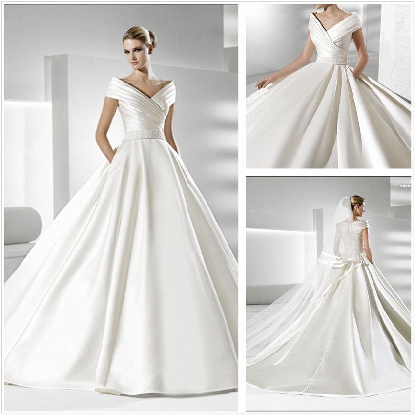 Simple but elegant satin wedding dress xz186 pinterest for Elegant wedding party dresses