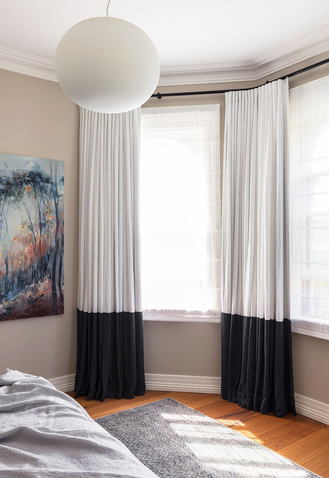 These neutral colorblocked curtains liven up otherwise