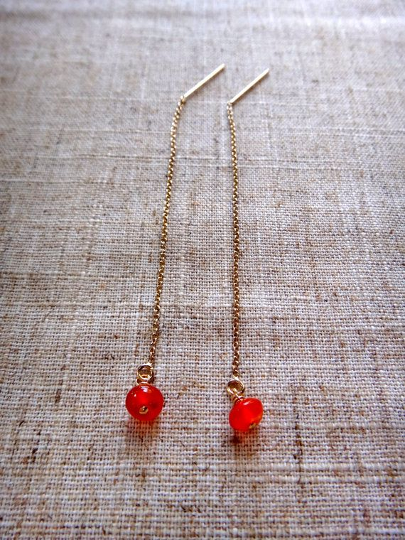 Cornelian Threader/Pull-through Earring Gold Filled by ByGennaLou on Etsy