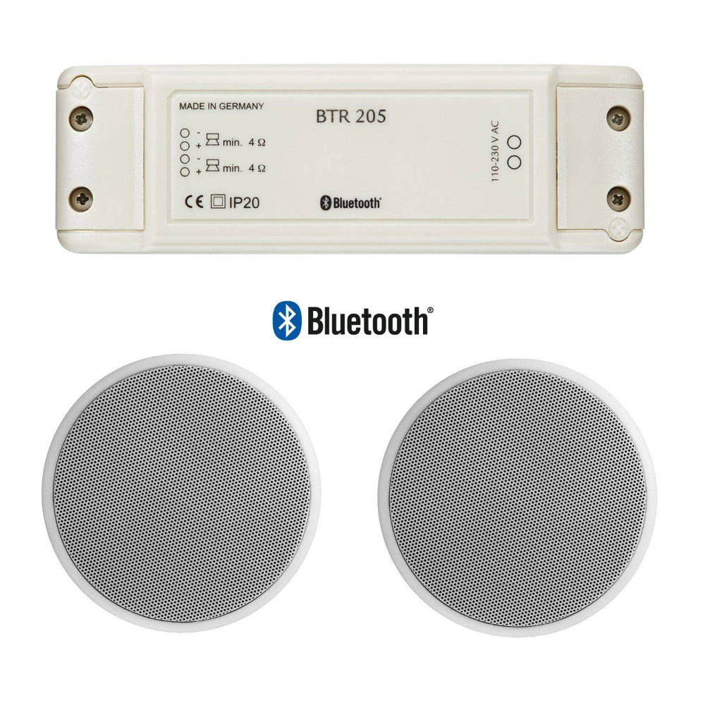 Whd Btr 205 Set Mit Lautsprecher Up 10 8 Einbauverstarker Mit Bluetooth Weiss Radiostore De Bluetooth Lautsprecher Einbaulautsprecher