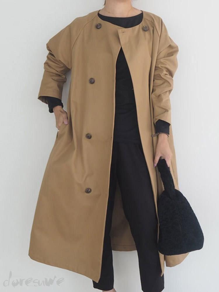 Doresuweロング丈ダブルボタンタイプ丸ネックレディースファッションゆったりフレンチスリーブカジュアル着回しトレンチコート 18020742 アウターコート Doresuwe Com ファッション レディース ファッション 衣類