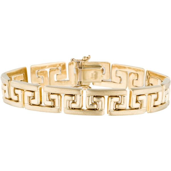 dc6c65946 14K Greek Key Bracelet ($975) ❤ liked on Polyvore featuring jewelry,  bracelets, gold jewellery, 14k bangle, 14k gold bangles, gold bangles and 14  karat ...
