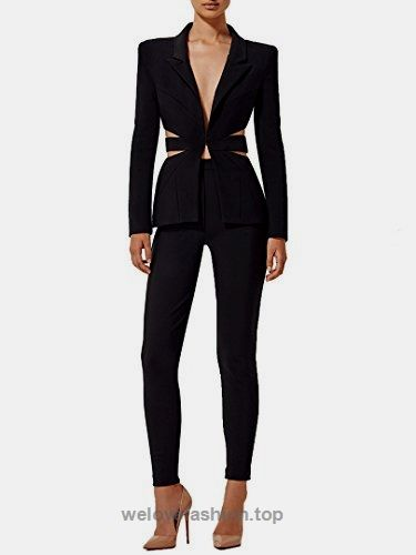 1db46effadf S Curve Women's Tailored Suit Set Cut Out Deep V Blazer Jacket and Pants  Suit Black Small BUY NOW $129.99 A classy yet sexy suit two piece set  features ...