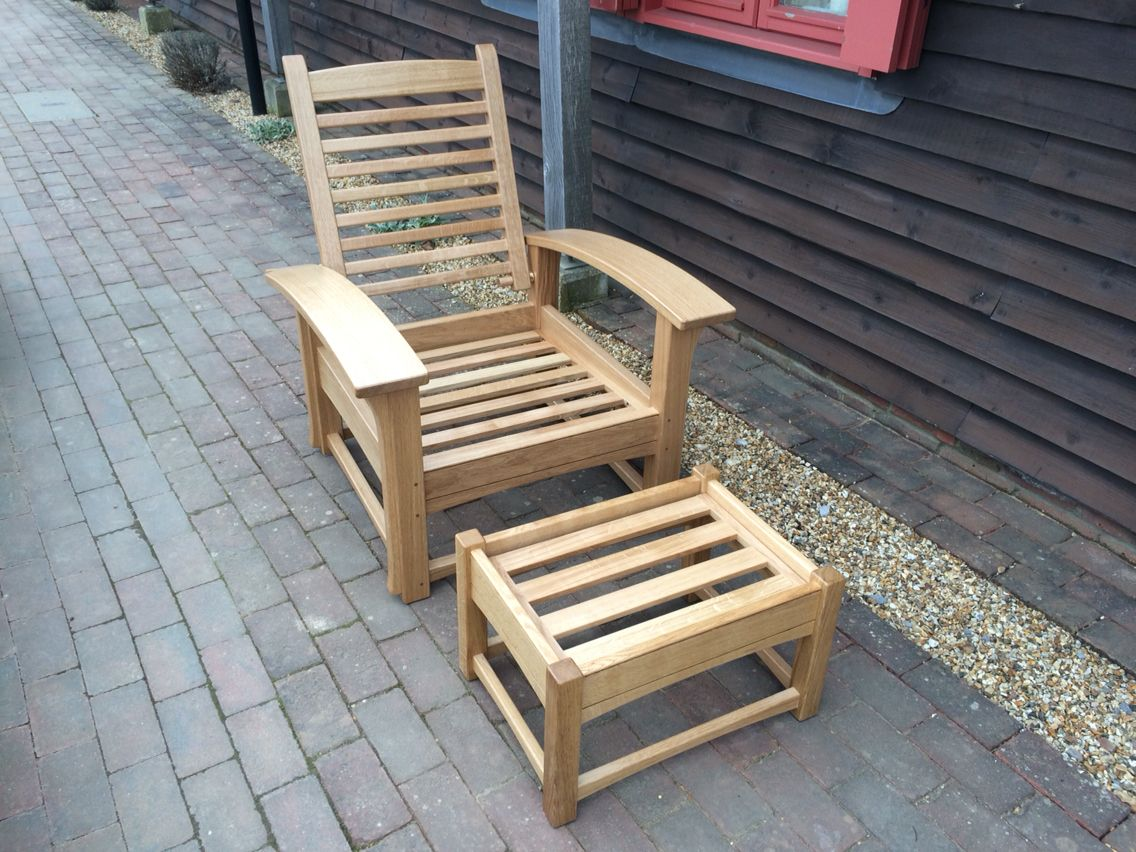 Contemporary morris chair with matching footstool handmade