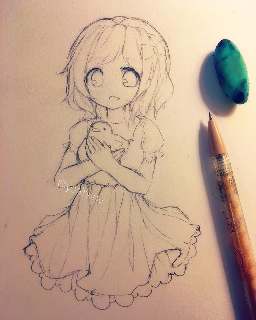 Anime Flower Girl Pencil Sketch