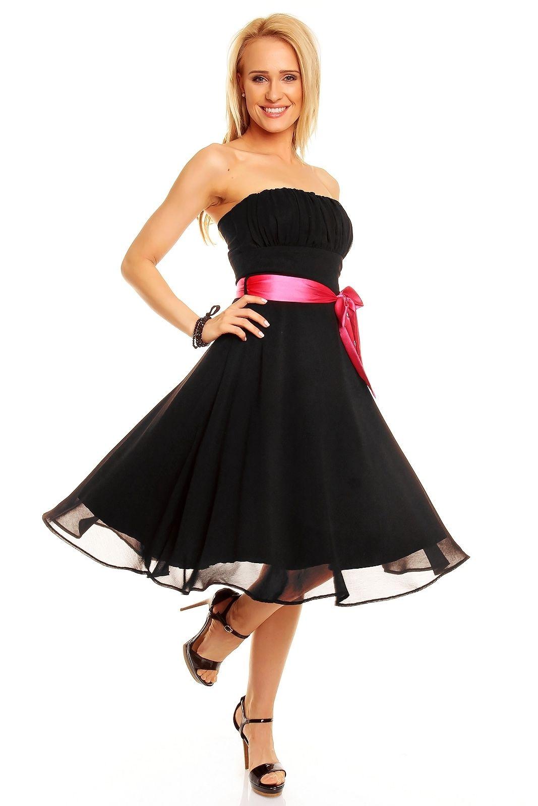 Robe de soirée robe courte bustier couleur noir ceinture rose TM,181 ,  ToufaMode