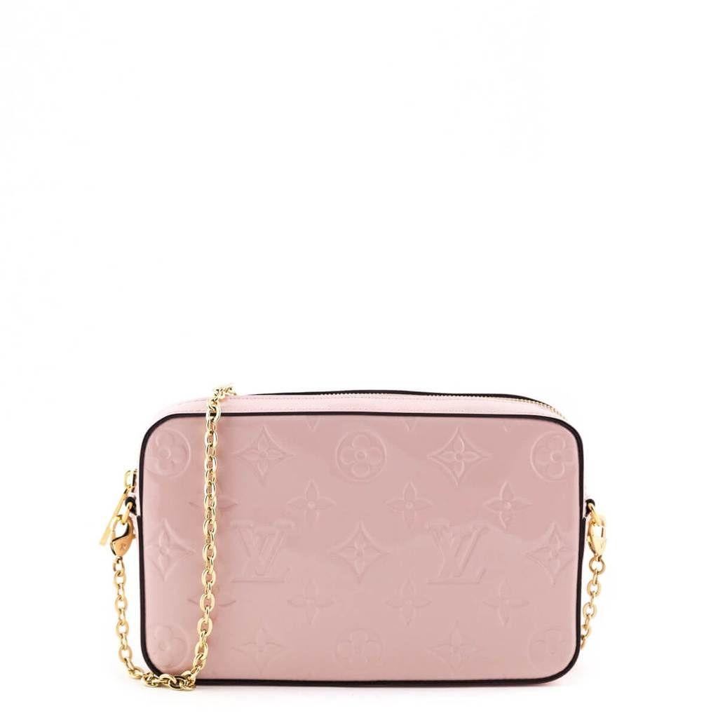 Louis Vuitton Rose Ballerine Vernis Empreinte Camera Pouch Love