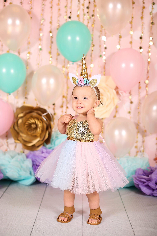 Baby Girls Unicorn Tutu Rainbow Fancy Dress Romper Outfit Birthday Party Costume