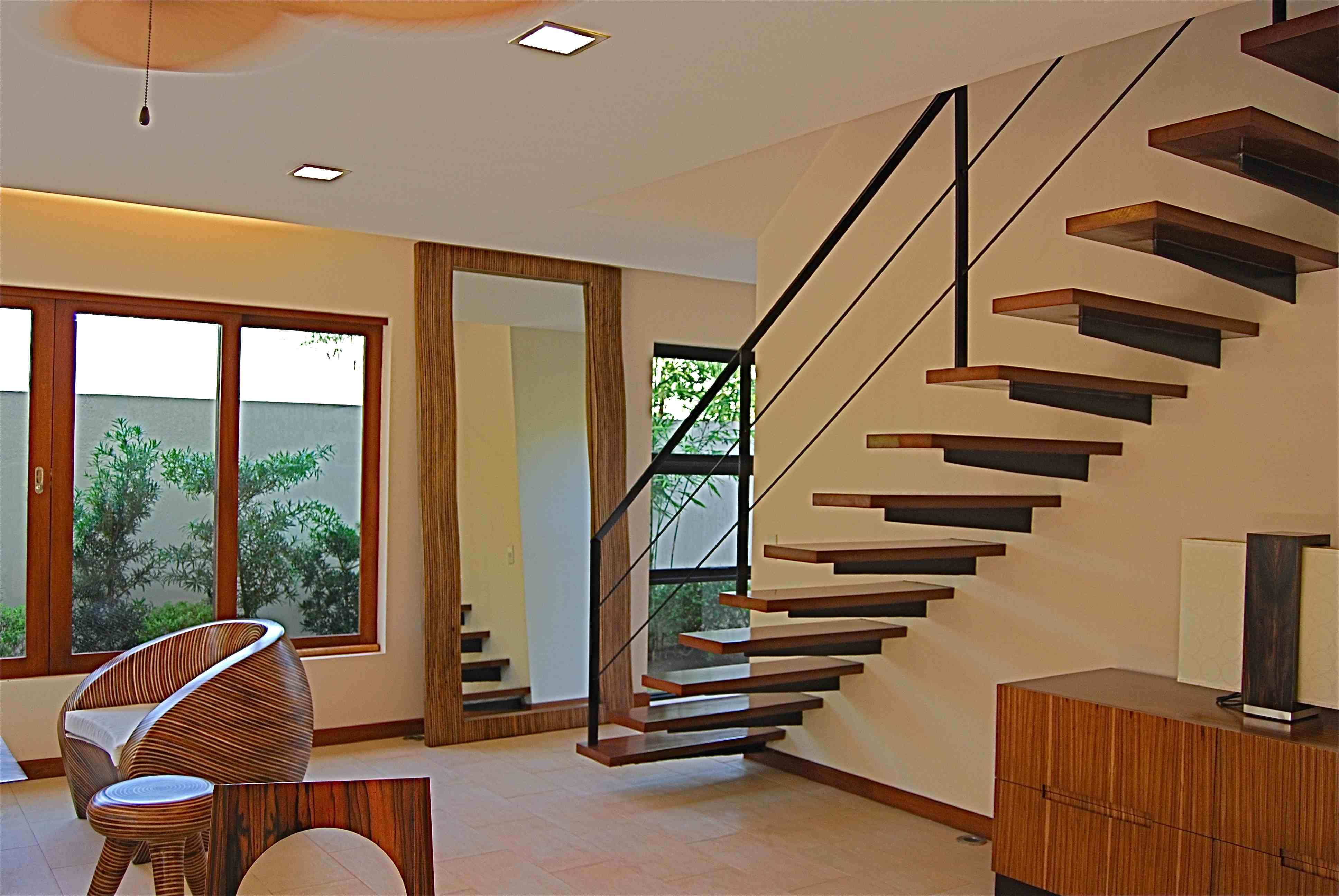 Floating Stairs Modern Handrail Simple House Interior Design