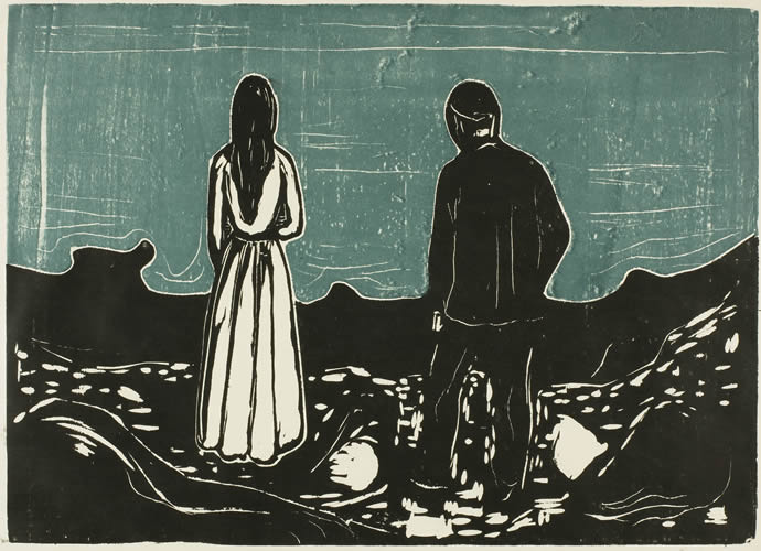 The Lonely Ones, 1899 - Edvard Munch in 2020 | Edvard munch, Woodcut, Art