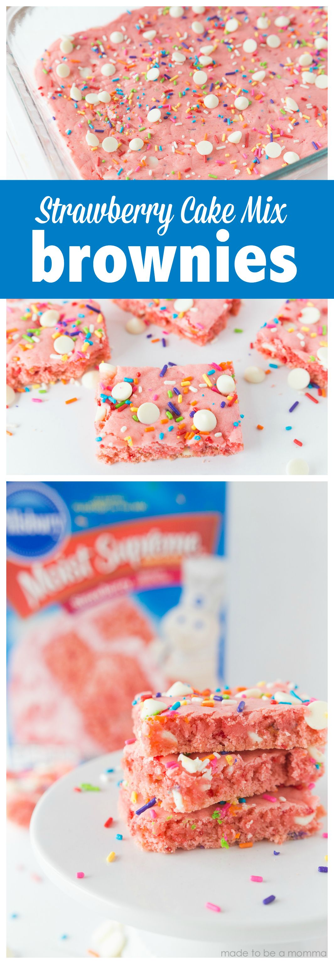 Strawberry Cake Mix Brownies: a fun and simple treat idea by using a cake mix. These strawberry brownies are bursting with color and only requires 4 simple ingredients by Made to be a Momma
