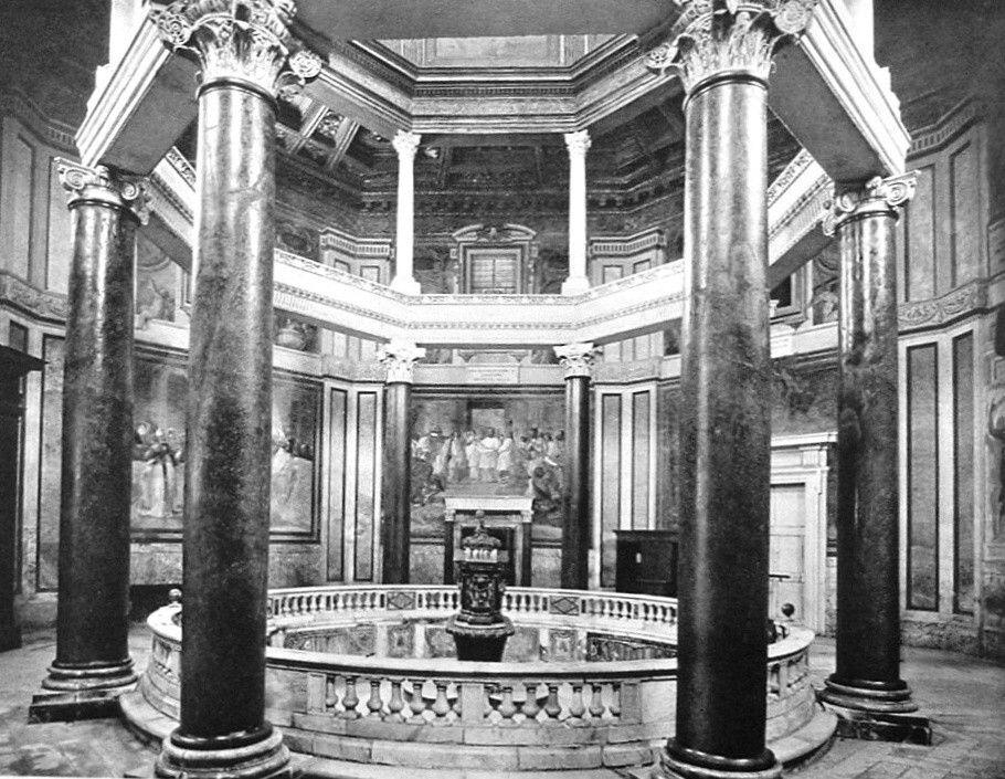 Róma: a lateráni komplexum keresztelőkápolnája(baptisterium), épült III. Sixtus (432-440) pápasága alatt (belső tér)