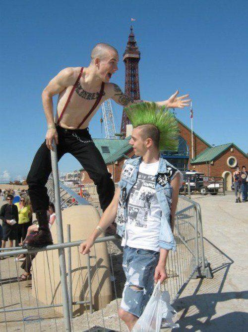 skinhead and a crusty punk, green mohawk