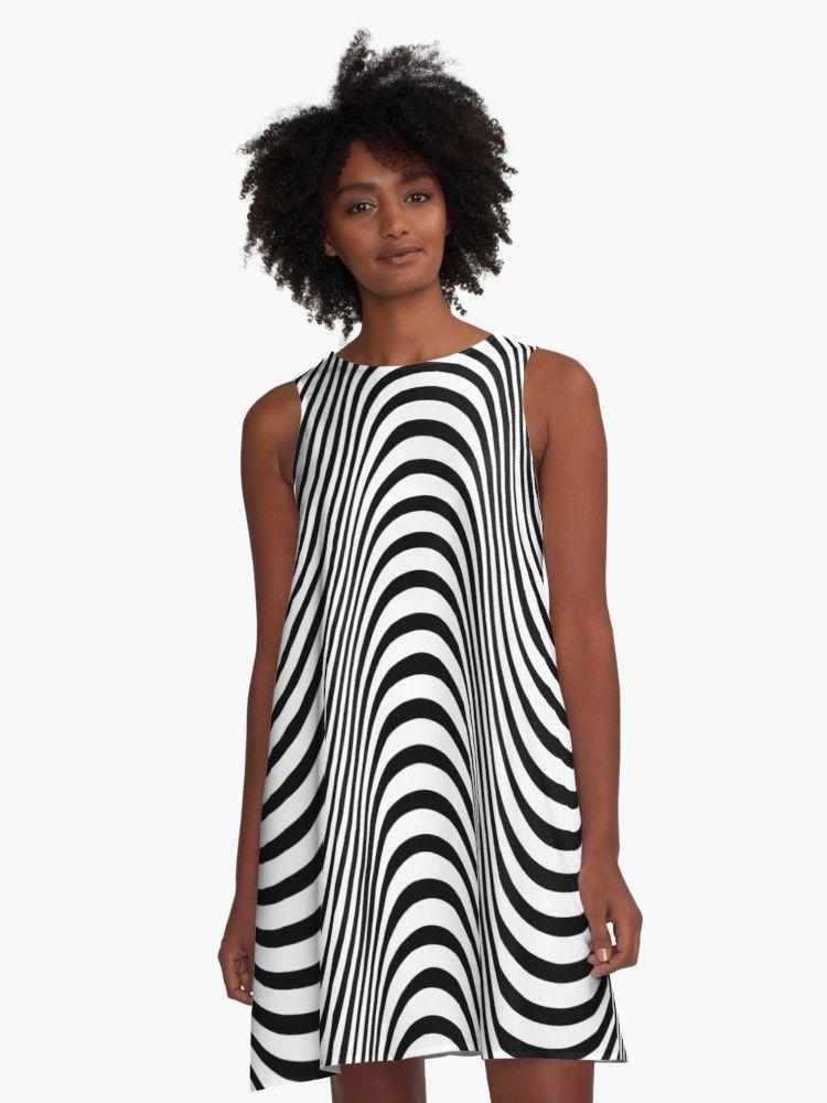 Waves A Line Dress By Texterns A Line Dress White A Line Dress Optical Illusion Dress