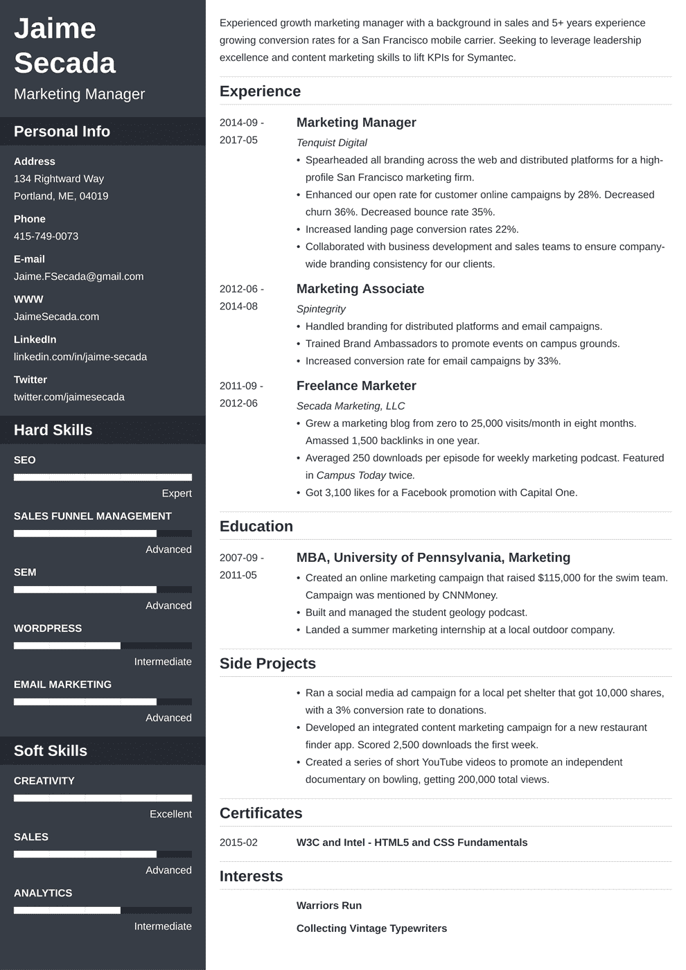 marketing resume template cascade in 2020 Resume