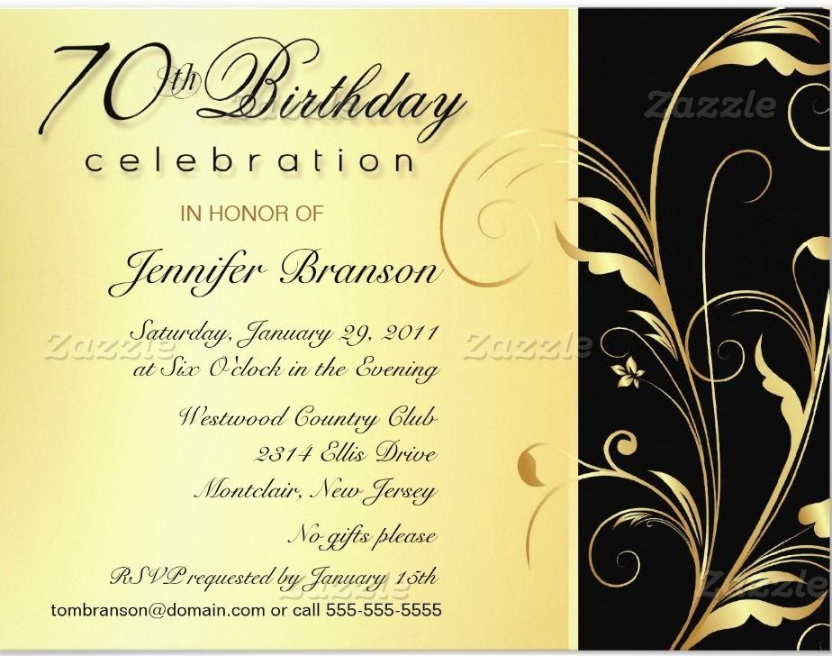 Free FREE Template 70th Birthday Party Invitation Wording | Baby ...