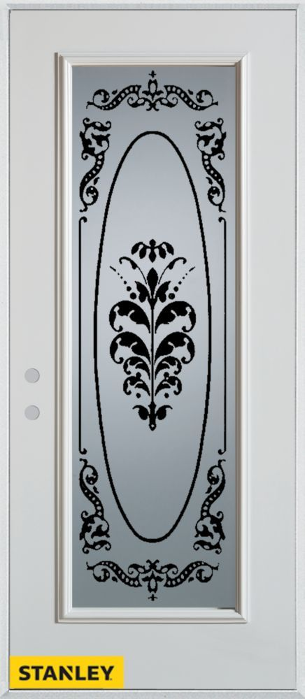 34 Inch X 80 Inch Silkscreened Full Lite White Steel Entry Door With Right
