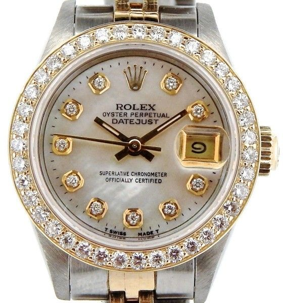 c8a75bd9631 Rolex Datejust 69173 18K Yellow Gold & Stainless Steel Mother Of Pearl  Diamond Dial & Bezel Womens Watch