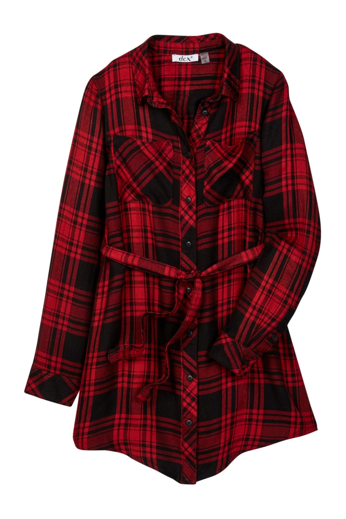 d43b60f08a9 Dex Belted Roll Sleeve Plaid Shirt Dress (Big Girls) Ajin