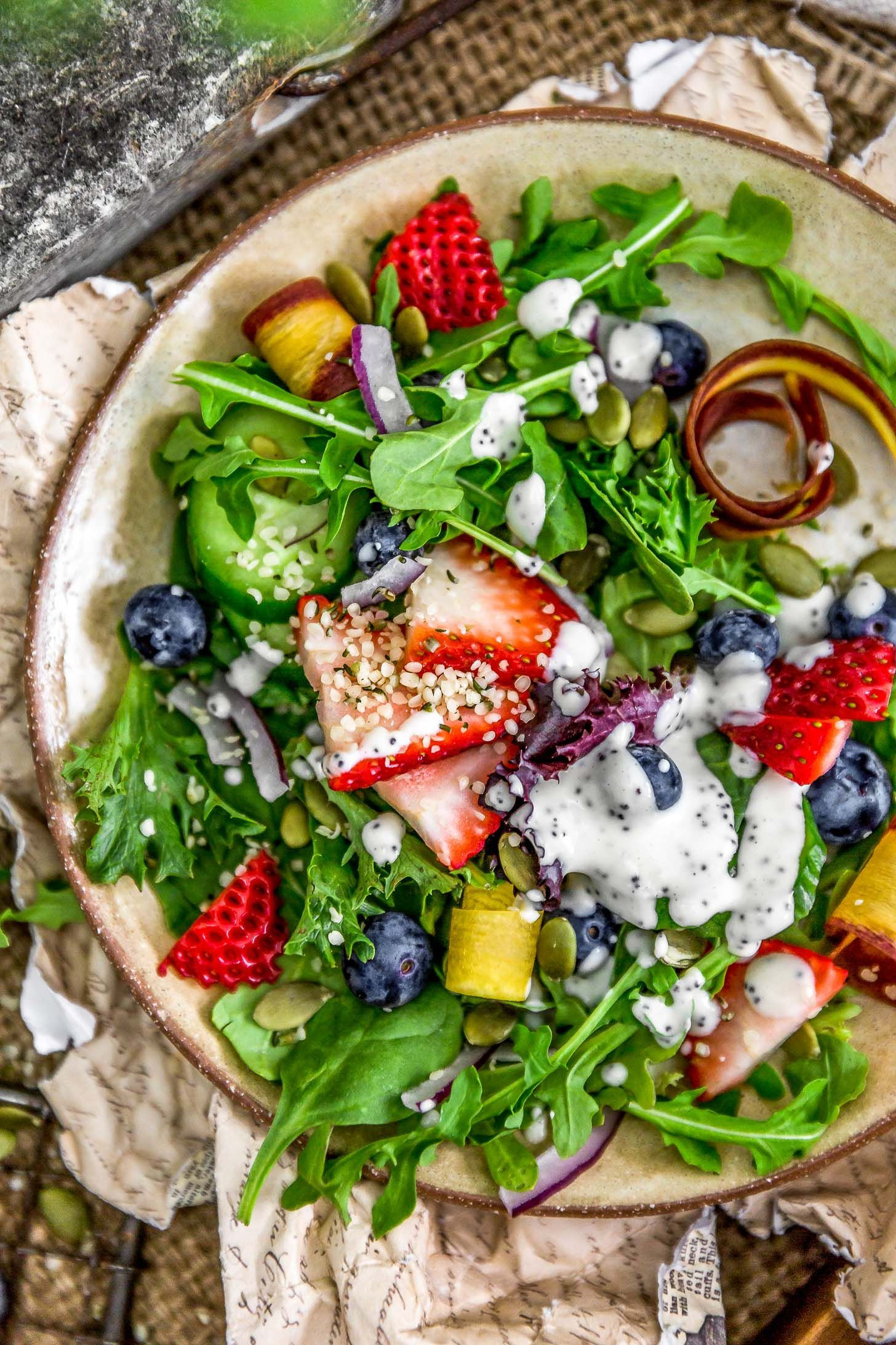 A delicious sweet & healthy Creamy Poppy Seed Dressing