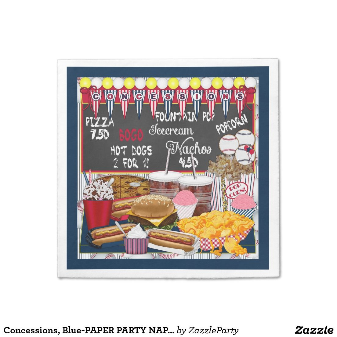 Concessions, Blue-PAPER PARTY NAPKINS Standard Cocktail Napkin #concessions #paper #napkins #zazzle #party #baseball