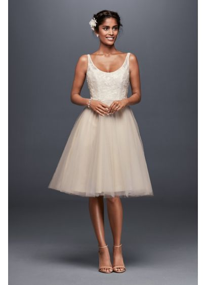 Tulle and Embroidered Lace Short Wedding Dress WG3825 | Lovely ...