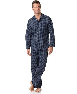 Club Room Men's Sleepwear, Big and Tall Long Sleeve Shirt and Pant ...