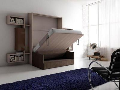 Un exemple d'une réalisation que propose Rangeocean. Solution combinée lit escamotable et canapé. Idéal pour les petites surfaces comme les chambres d'étudiant. #escamotable