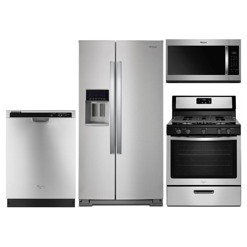 Whirlpool 4 Piece Gas Kitchen Appliance Package With 28 Cu Ft