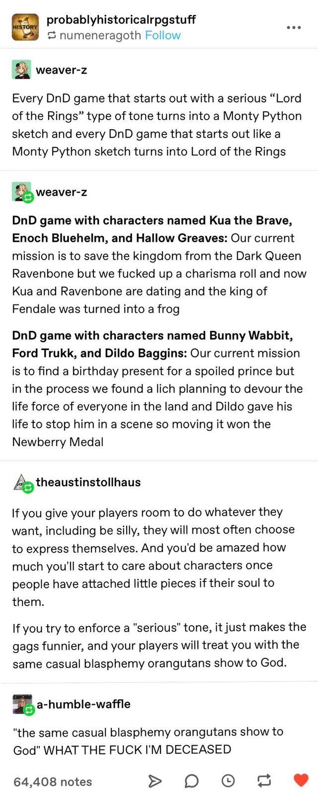 Tumblr Is One Of The Top Microblogging Social Media Platform People Share Their Thoughts Stories And Jokes There Mostly Teens Have Dnd Funny Dnd Stories Dnd